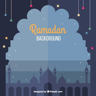 Ramadan background with mosque flat silhouette