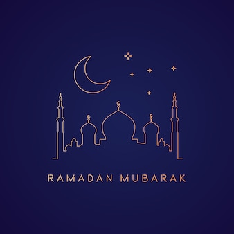 Ramadan background with mosque in gold monolines