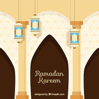 Sfondo di ramadan con interni moschea in stile piano