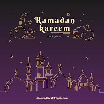 Ramadan background with mosque in monolines