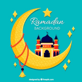 Ramadan background with mosque on moon shape