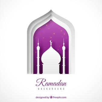 Sfondo di ramadan con forma di moschea in stile piano