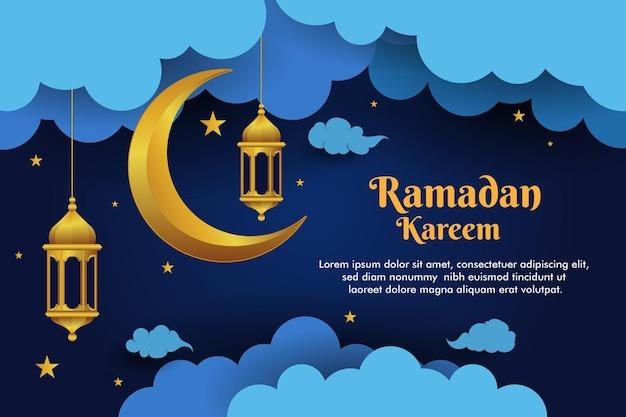 Рамадан фон с концепцией искусства бумаги священный месяц