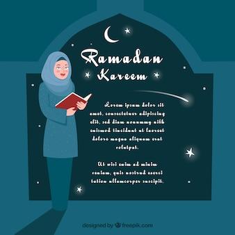 Ramadan background with people praying
