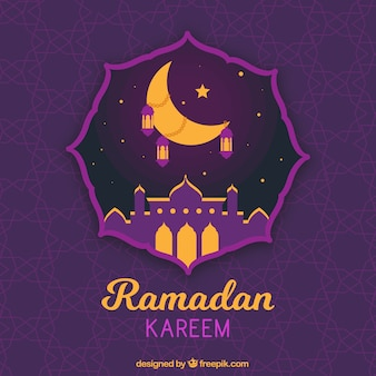 Ramadan background with purple silhouette of mosque