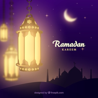 Ramadan background with realistic lamps