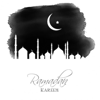 Ramadan background with a watercolor mosque