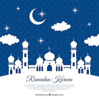 Ramadan background with white silhouette of mosque