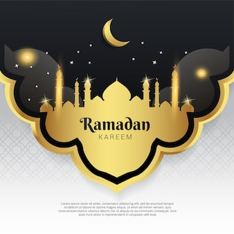 Ramadan banner mosque shape and moon