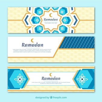 Ramadan banners collection with flat ornaments