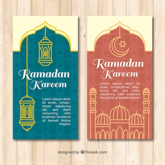 Ramadan banners collection with lamps and mosque