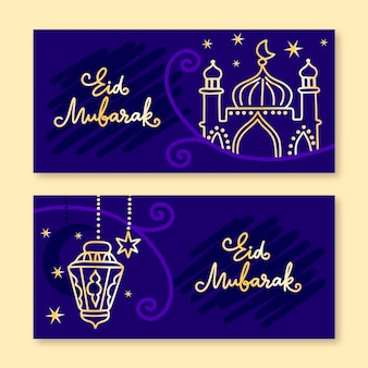 Disegnati a mano banner ramadan