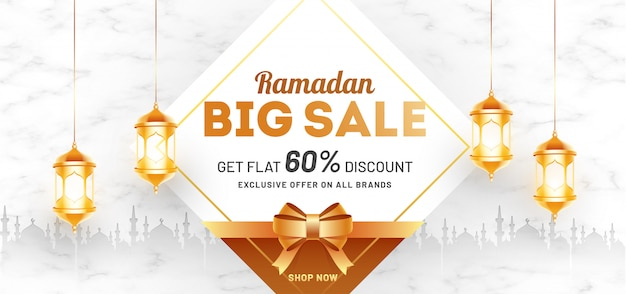 Ramadan big sale header or banner template design with 60% discount offer