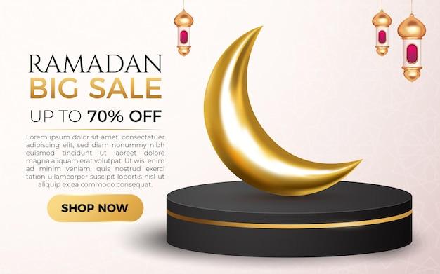 Ramadan big sale with 3d luxury black gold podium and lantern islamic element