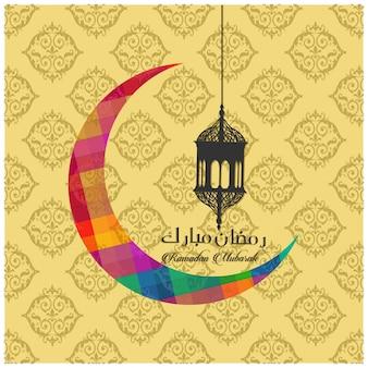 Ramadan card with colorful moon and lantern