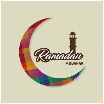 Арабская исламская каллиграфия текста рамадан карим с полумесяцем на синем фоне для священного месяца мусульманской общины