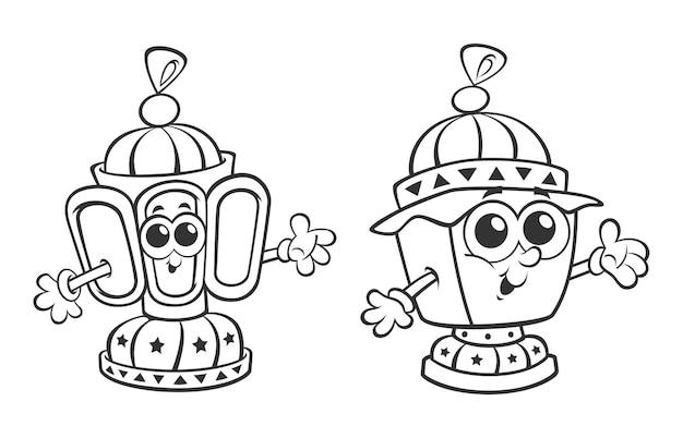 Ramadan cartoon lanterns coloring page activity for kids vector illustration