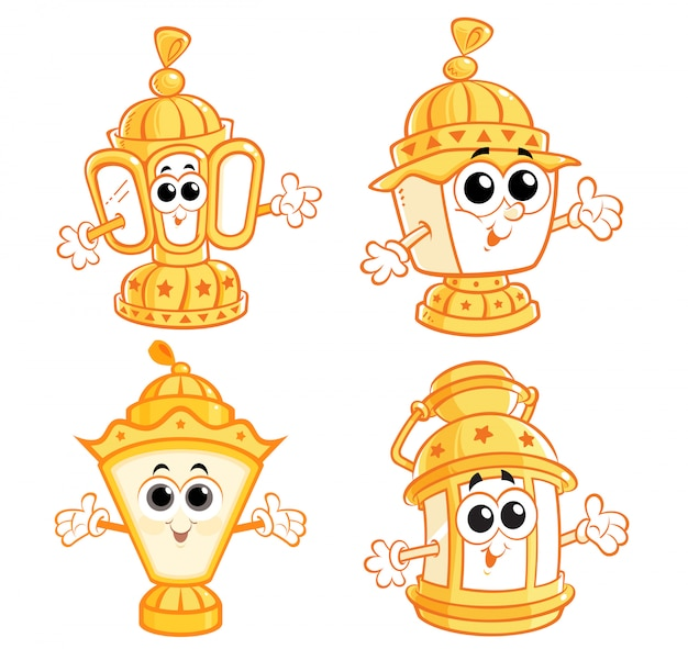 Ramadan cartoon lanterns