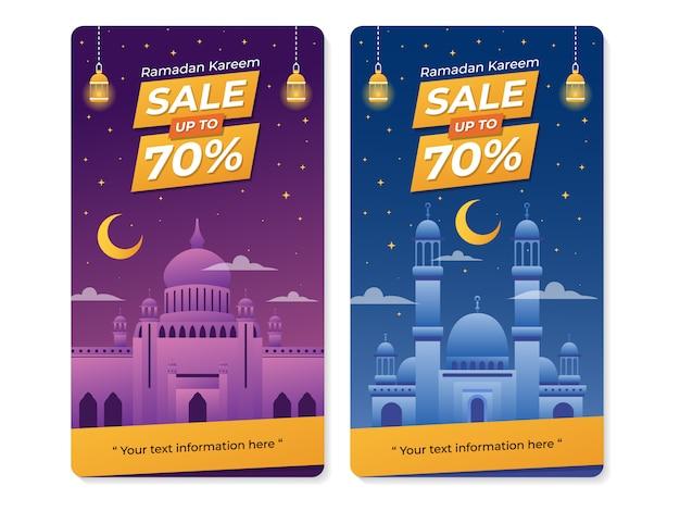 Ramadan celebration sale banner with mosque illustration