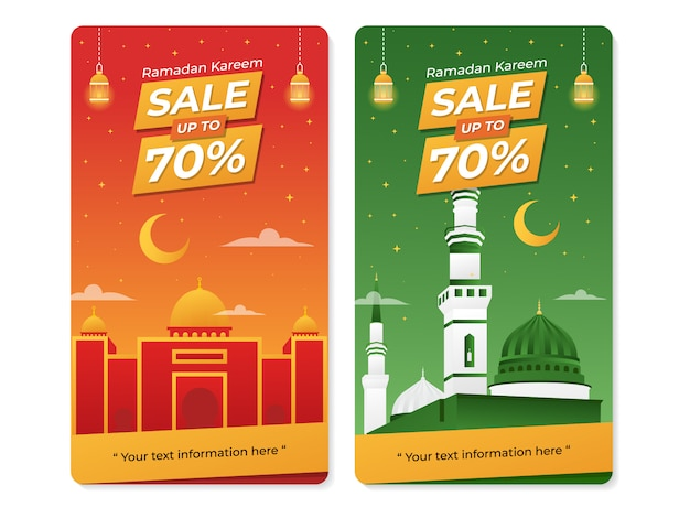 Ramadan celebration sale banner with mosque illustration