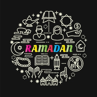 Ramadan colorful gradient with line icons set