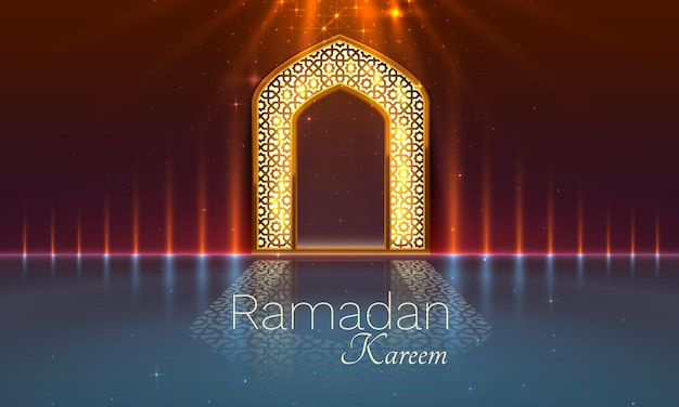 Ramadan cover card, drawn mosque night view from arch background
