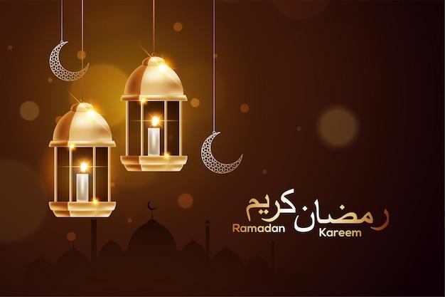 Рамадан темно-коричневый фон с висящей золотой луной и фонарями фанус