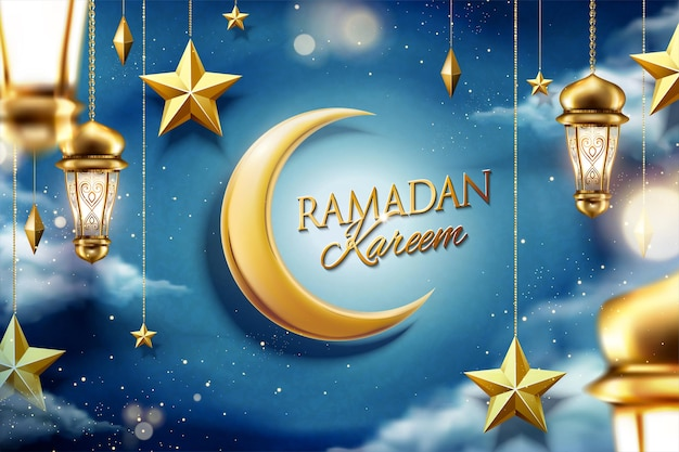 Ramadan design magical night sky with hanging golden star and fanoos