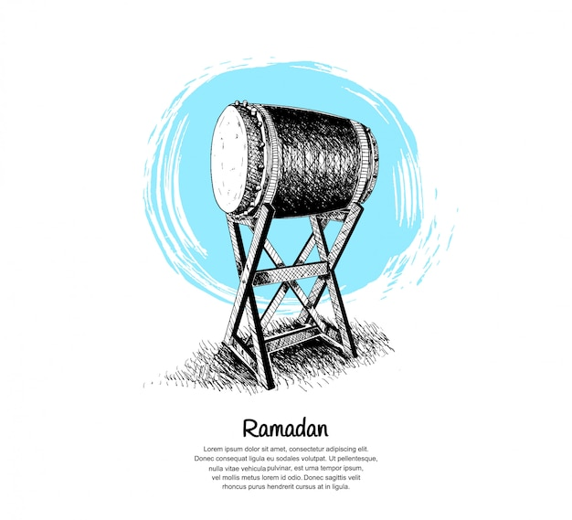 Ramadan design with bedug illustration