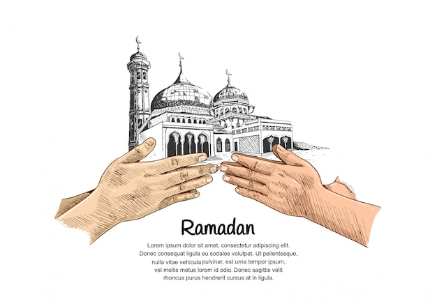 Ramadan design with colorful hand forgive sign