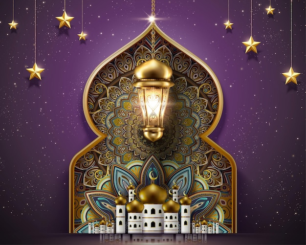 Ramadan design with gorgeous mosque and arabesque patterns