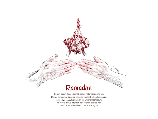 Ramadan design with hand forgive sign and ketupat