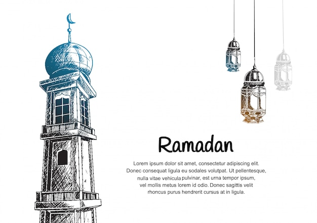 Ramadan design with mosque tower and  hanging lantern