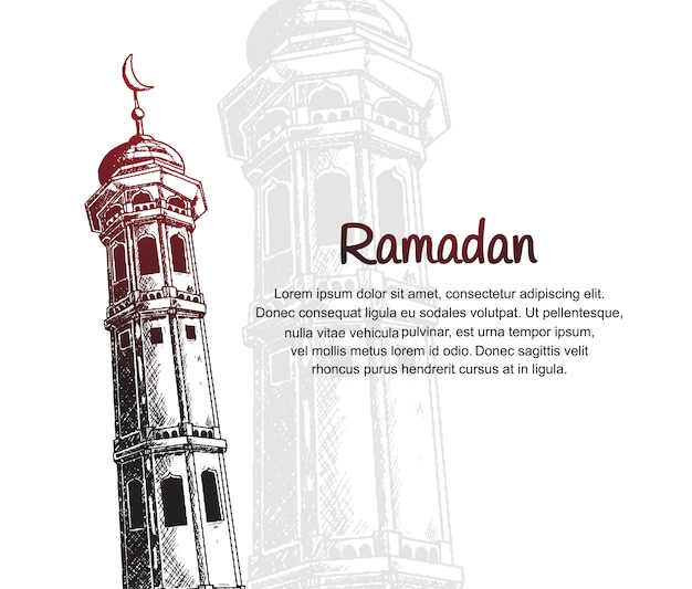 Ramadan design with mosque tower