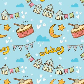 Ramadan doodle seamless pattern