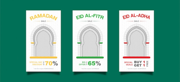 Ramadan, eid al fitr al, al adha instagram post template