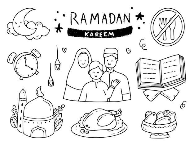Ramadan family doodle drawing set illustration