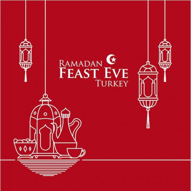 Ramadan fast eve in turkey with lantern in mono line style