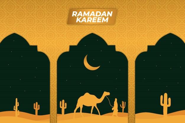ラマダンフラットキャメルサボテンモスクイスラム