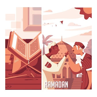 Ramadan flat design illustration Premium Vector