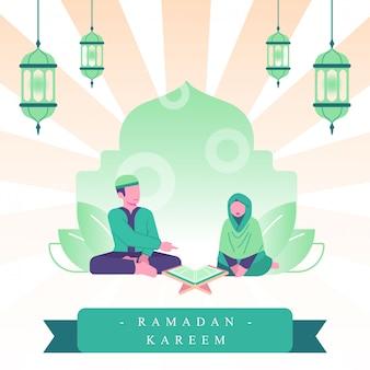 ラマダンフラットイラスト。カップルはアルコーランを読み、一緒に祈ります。ラマダンでの家族の活動
