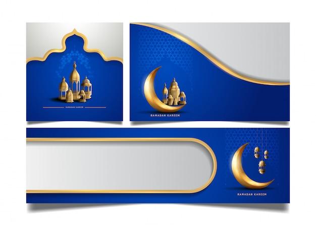 聖なるラマダンのお祝いイベントのための青色の背景に月とランタン入りラマダンフライヤーデザイン