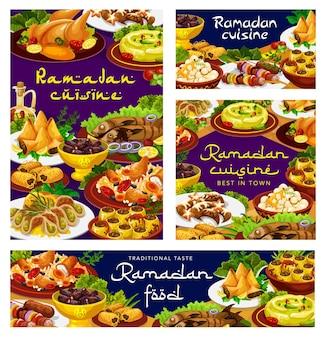 Ramadan food, iftar cuisine dishes and eid mubarak meals menu Premium Vector