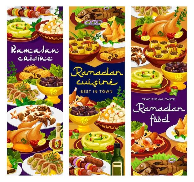 Еда рамадана, ифтар исламская кухня меню блюда для блюд ресторана ид мубарак