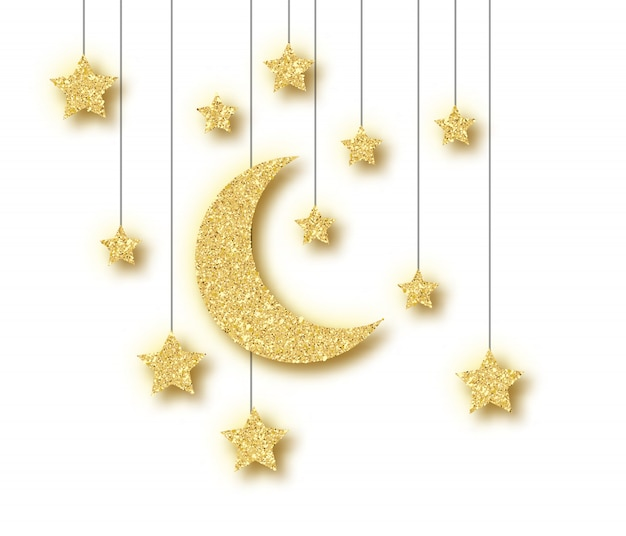 Ramadan golden decoration isolated on white background.