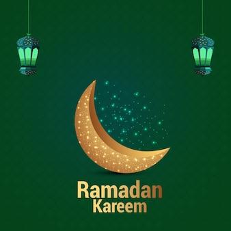 緑の背景にラマダン黄金の月