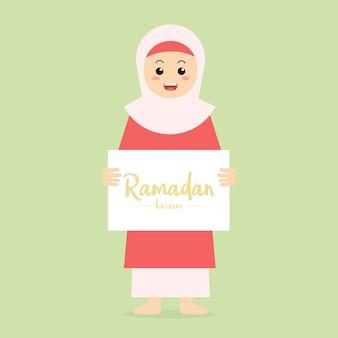 Ramadan greeting card character female