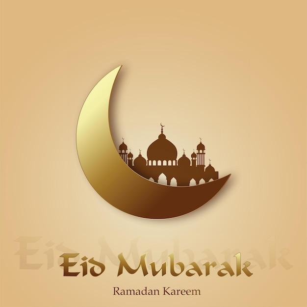 Поздравительная открытка рамадана с полумесяцем и мечетью.