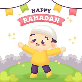 Ramadan greeting card with cute boy illustration