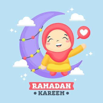 Ramadan greeting card with cute girl illustration